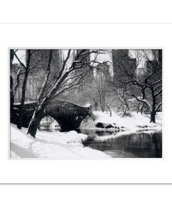 Love Bridge Central Park New York Black White Art Print NY MP-1006 White Mat