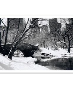 Love Bridge Central Park New York Black White Art Print Poster NY MP-1006 Black Mat