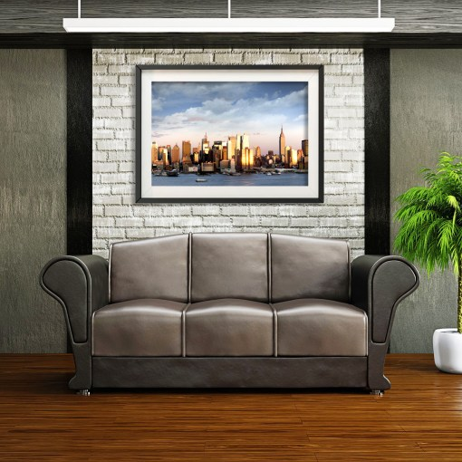 Midtown Sunset Panorama Art Print Poster NYC Room Decor Brick Wall