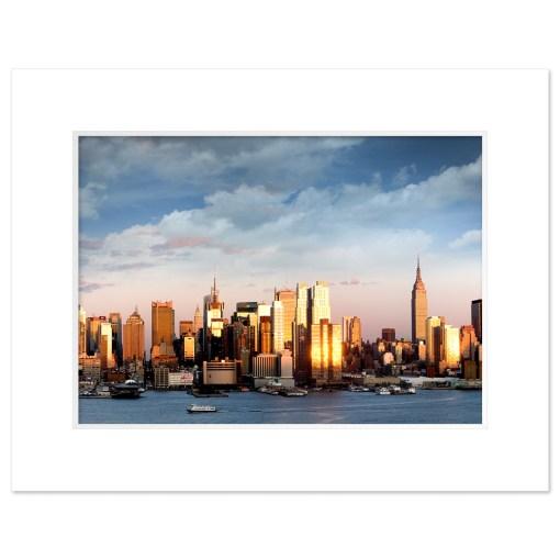 Midtown Sunset Panorama Art Print Poster NYC MP-2134 White Mat