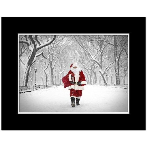 Santa on Poet Walk in Central Park Art Print Poster MP-1173 Black Mat
