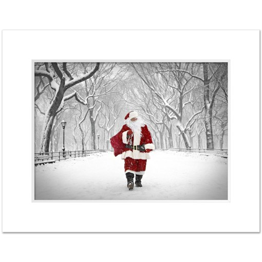 Santa on Poet Walk in Central Park Art Print Poster MP-1173 White Mat