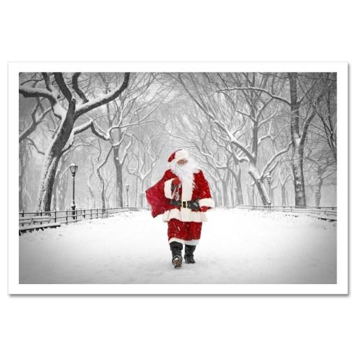 Santa on Poet Walk in Central Park Art Print Poster MP-1173