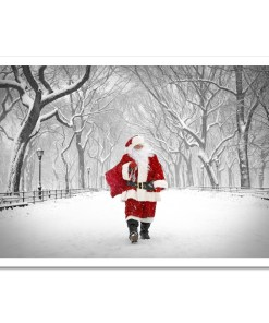Santa on Poet Walk in Central Park Art Print Poster MP-1173