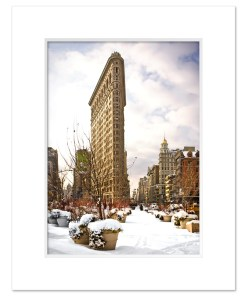 Snow Flatiron Building Art Print Poster MP-1025 White Mat