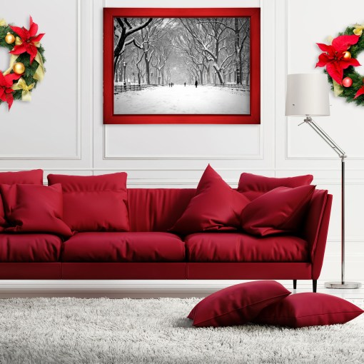 Snow Poet Walk Central Park Art Print Poster NY White Room Red Sofa NY Christmas Gifts Collection