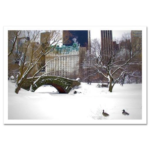 Love Bridge Central Park NY Art Print Poster Biege Gold Room Decor Print