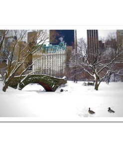 Love Bridge Central Park NY Art Print Poster Biege Gold Room Decor Print