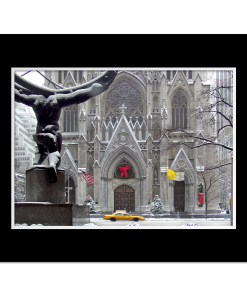St Patricks Cathedral Christmas Art Print Poster MP-1440 Black Mat