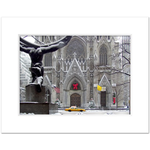 St Patricks Cathedral Christmas Art Print Poster MP-1440 White Mat
