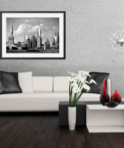 Statue Liberty Freedom Tower Black White Art Print Poster Grey White Living Room Decor