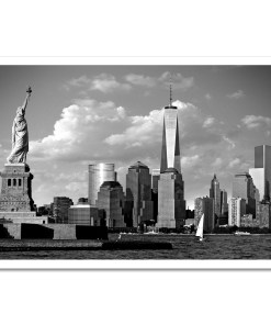 Statue Liberty Freedom Tower Black White Art Print Poster MP1160 Print