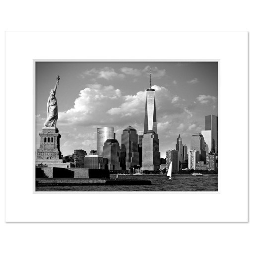 Statue Liberty Freedom Tower Black White Art Print Poster MP1160 Print White Mat