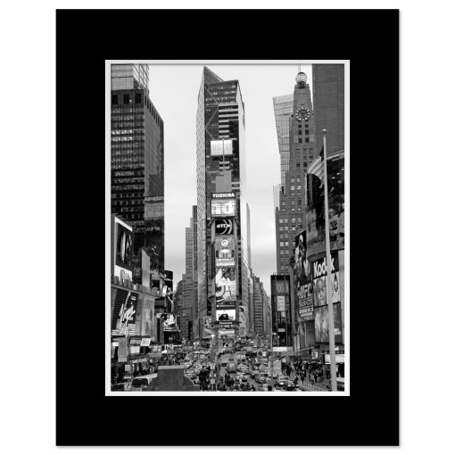 Times Square South New York BW Art Print Poster MP-1032 Mat Black