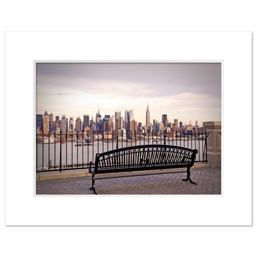 View from Bench Midtown Manhattan New York Art Print Poster MP-2132 White Mat
