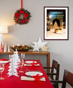 Washington Arch Christmas Tree Art Print Poster Red Christmas Dining Room Decor