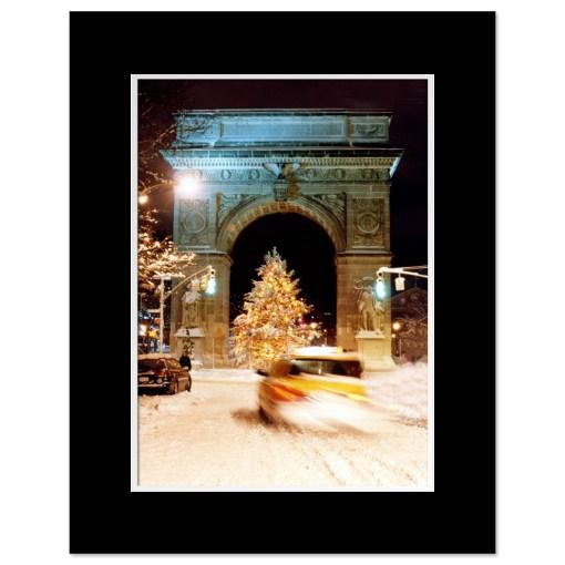 Washington Arch Christmas Tree New York Art Print Poster MP-1902 Black Mat