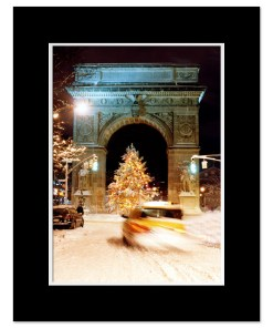 Washington Arch Christmas Tree New York Art Print Poster MP-1902 Black Mat