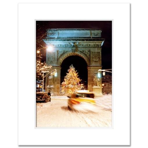 Washington Arch Christmas Tree New York Art Print Poster MP-1902 White Mat
