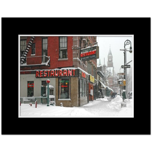 Waverly Restaurant Winter Art Print Poster MP-1413 Black Mat