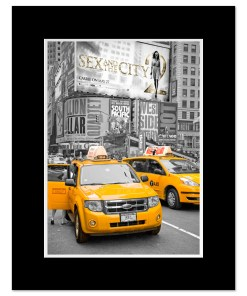 Yellow Cabs on Times Square II Art Print Poster MP-1228 Black Mat