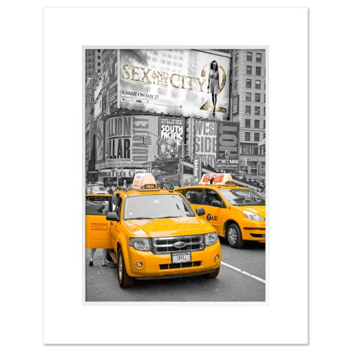 Yellow Cabs on Times Square II Art Print Poster MP-1228 White Mat