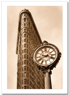 5th Ave Clock at Flatiron Building NY Christmas Card HPC-2312