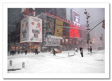 Blizzard on Times Square NY Christmas Card HPC-2256