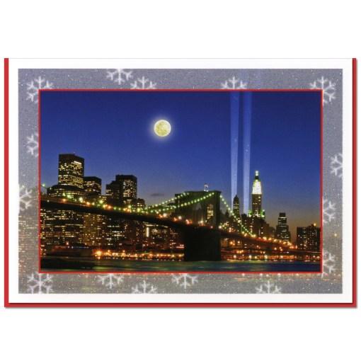 Brooklyn Bridge WTC Memorial Lights NY Christmas Cards CGC8004