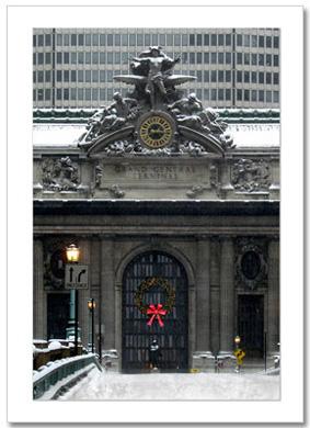 Christmas Wreath on Grand Central NY Christmas Card HPC-2016
