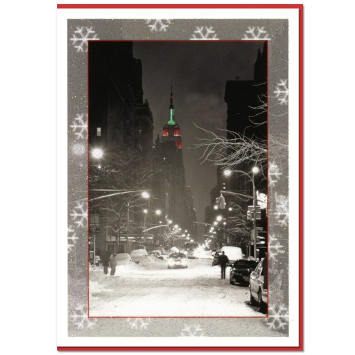Empire State Building Night NY Christmas Cards CGC8306