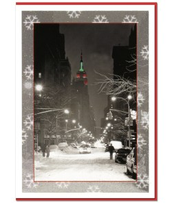 Empire State Building Night NY Christmas Cards CGC8306