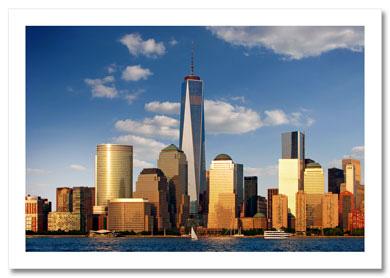 Freedom Tower Panorama Downtown Manhattan NY Christmas Card HPC-2016