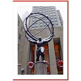 Holiday Decorations Atlas Rockefeller NY Christmas Cards HPC2938