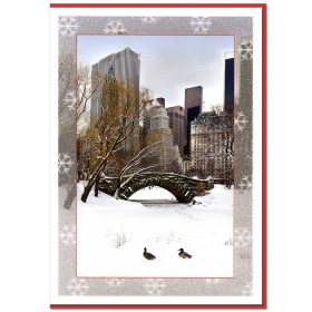 Love Bridge Snow Central Park NY Christmas Cards CGC8802