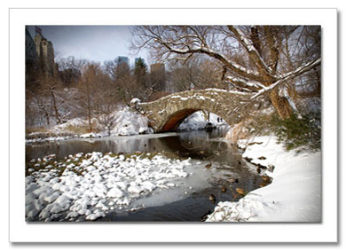 Pond Love Bridge Central Park NY Christmas Card HPC2814