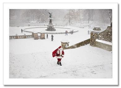 Santa Coming from Bethesda Fountain NY Christmas Card HPC2853