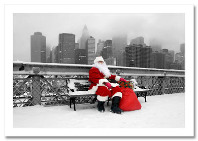 Santa Taking Break on Brooklyn Bridge NY Christmas Card HPC-2984