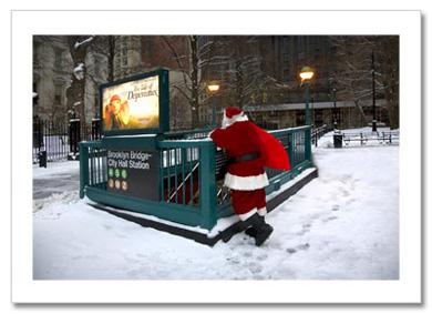 Santa at Brooklyn Bridge Station NY Christmas Card HPC-2981