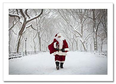 Santa Poet Lane Central Park NY Christmas Card HPC2864