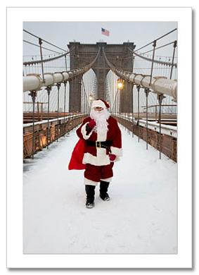 Santa on Brooklyn Bridge NY Christmas Card HPC-2975