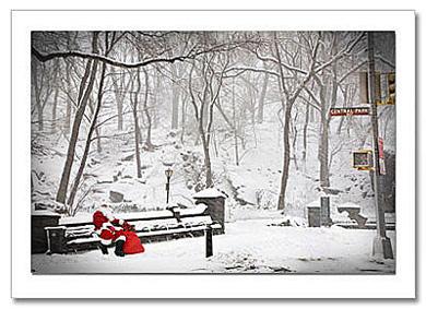 Santa On Bench Central Park West NY Christmas Card HPC2874