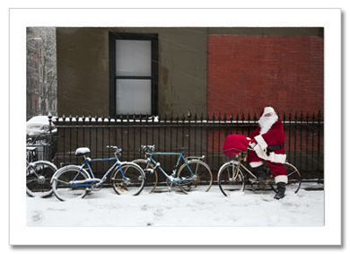 Santa on Bicycle NY Christmas Card HPC-2467