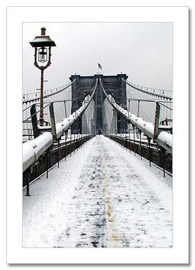 Snow Brooklyn Bridge NY Christmas Card HPC-2302