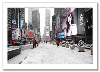 Snow Times Square NY Christmas Card HPC-2286