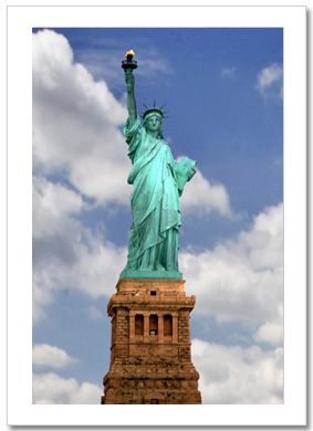 Statue of Liberty Color NY Christmas Card HPC-2304