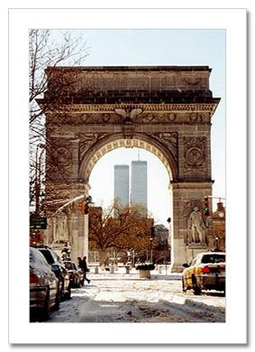 WTC and Washington Arch Winter NY Christmas Card HPC-2903