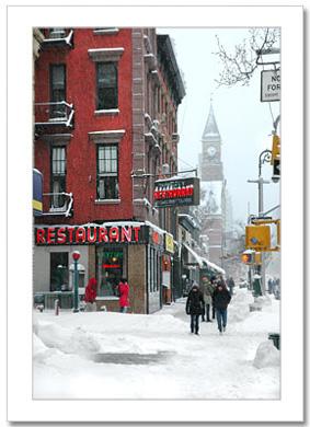 Waverly Restaurant on 6th Ave Vertical NY Christmas Card HPC-2414