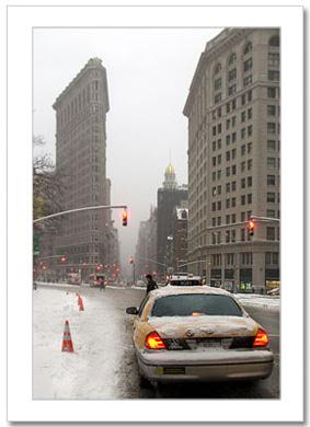 Yellow Cab Flatiron Building NY Christmas Card HPC-2285