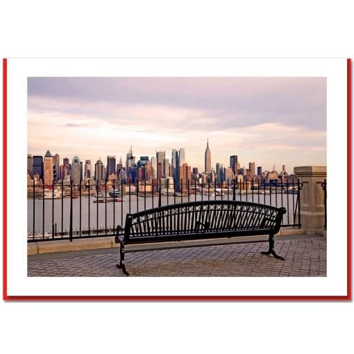 View at Midtown Manhattan from Bench Handmade Photo Christmas Card HPC2132